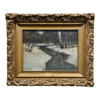 Wolmant - New England Winter Landscape -Oil Painting C1910s For Sale