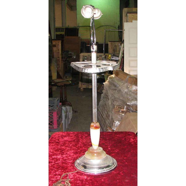 Brass Deco Blown Glass & Nickel Floor Lamp For Sale - Image 7 of 7