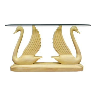 Modern Double Swan Glass Sofa Table