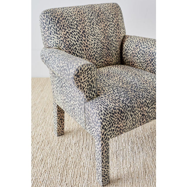 Set of Four Cheetah Leopard Upholstered Club Chairs For Sale - Image 4 of 13
