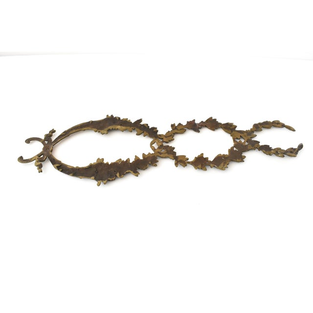 Metal Antique French Ormolu Cornucopia Garland Ornament For Sale - Image 7 of 8