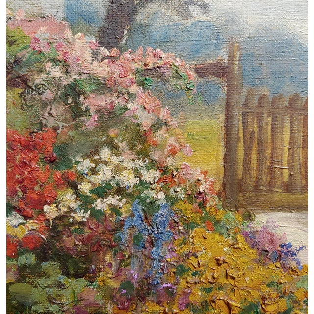 William Constable Adam-Beautiful Flower Garden With Gate -Oil Painting-1900s For Sale In Los Angeles - Image 6 of 10