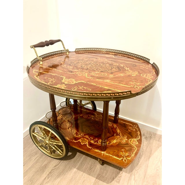 Mid Century Vintage Italian Inlay Wood Bar Cart For Sale - Image 4 of 13