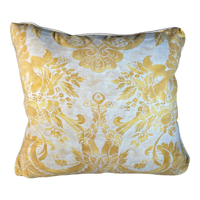 Vintage Yellow Fortuny Pillow For Sale
