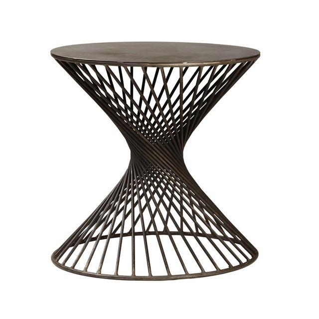 Modern Iron Twist Side Table For Sale - Image 3 of 3