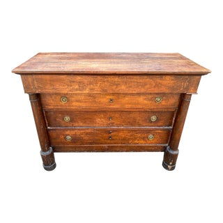 Antique French Neoclassical Empire Commode With Mahogany Veneer For Sale
