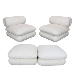 Pair ofand Sculptural Roll Back Slipper Chairs and Ottomans For Sale