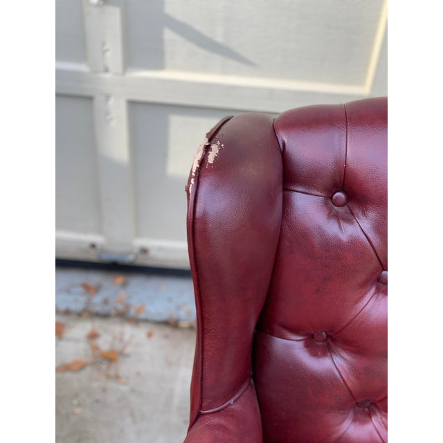 Animal Skin 1990s Vintage Faux Leather Burgundy Chairs- A Pair For Sale - Image 7 of 8