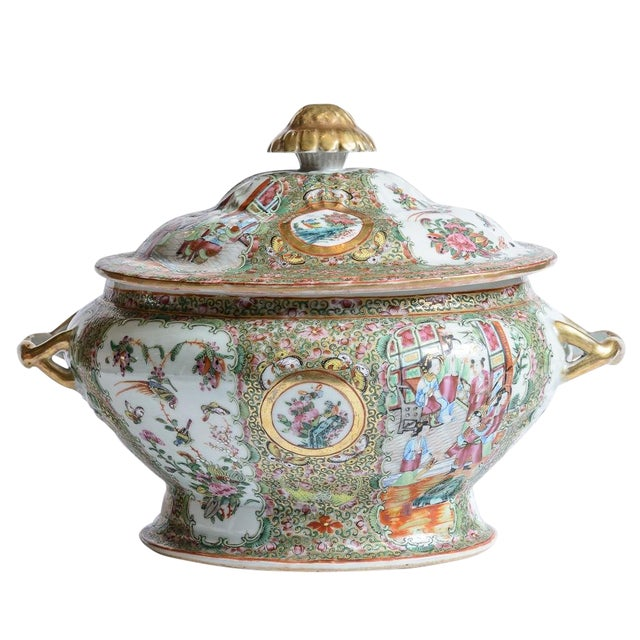 Rose Medallion Soup Tureen For Sale