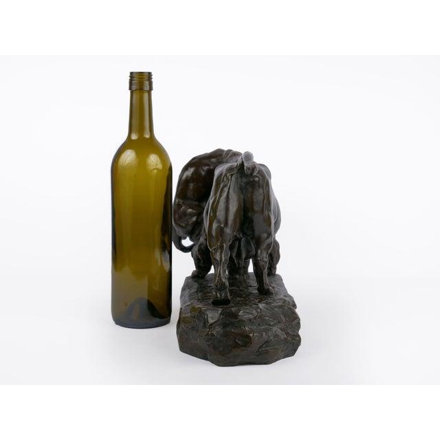 """""""Bison Et Jaguar"""" French Bronze Sculpture Cast After Model by Georges Gardet For Sale - Image 4 of 13"""