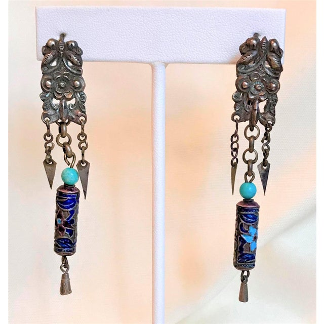 Antique Chinese Enamel and Turquoise Bead Earrings For Sale In Los Angeles - Image 6 of 7