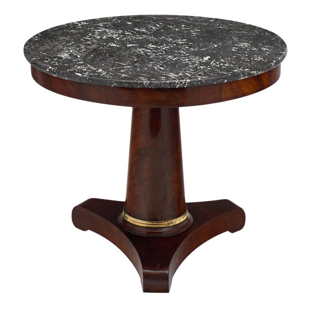 Empire Period Gueridon Table With Gray Marble Top For Sale