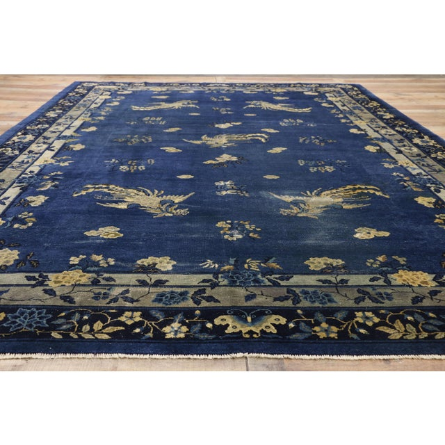 Textile Antique Chinese Peking Art Deco Rug With Chinoiserie Style - 09'01 X 13'07 For Sale - Image 7 of 10