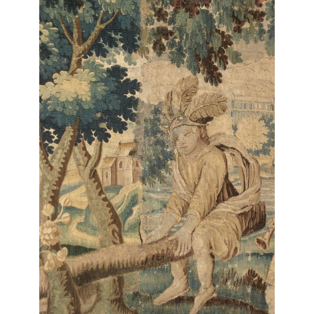 French 17 Century Louis XIV Aubusson Tapestry Wall Hanging For Sale - Image 4 of 8