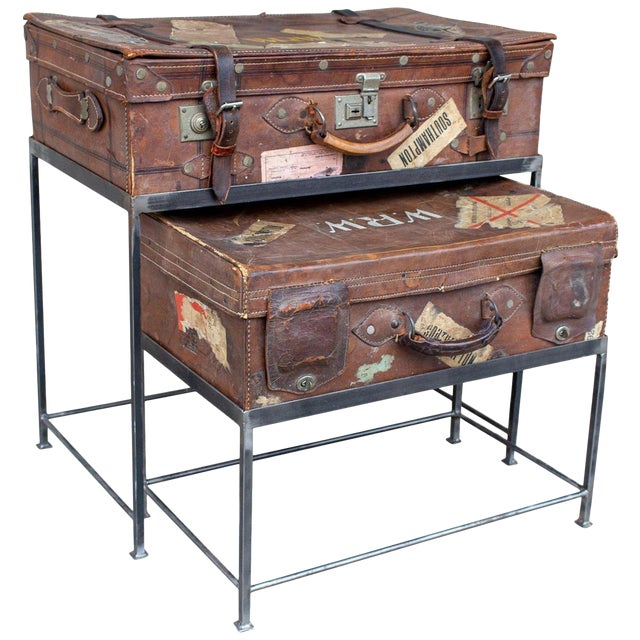 Pair of Antique English Luggage Nesting Tables For Sale