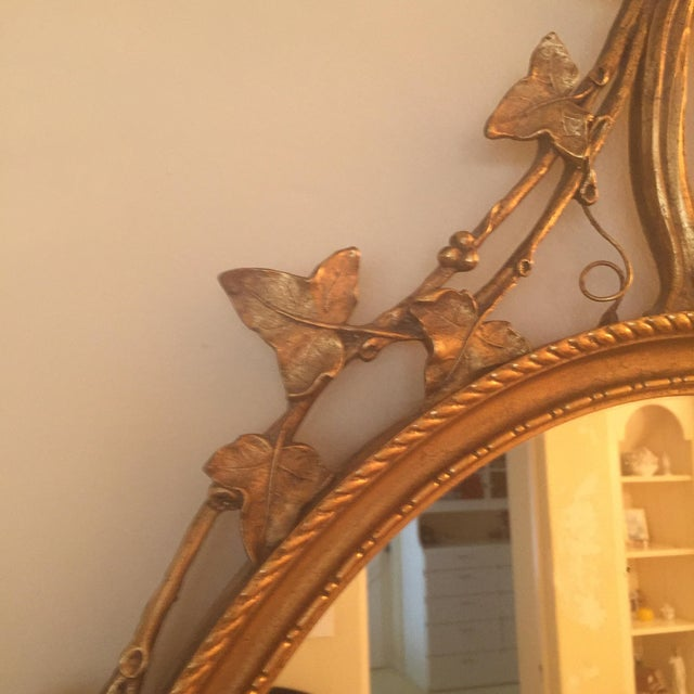 French Guilt Oval Mirror For Sale - Image 4 of 6