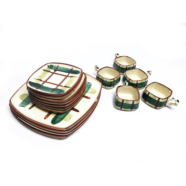 1950s Vintage 1950's Mid-Century Hand Painted Signed Classic Plaid Blair Ceramics - 16 Piece Set For Sale - Image 5 of 5