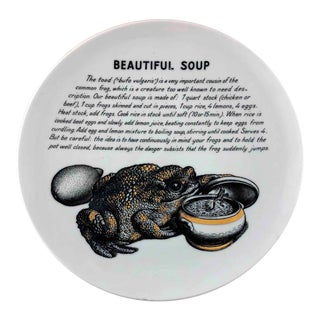 Piero Fornasetti 1960's Beautiful Soup Toad Improbable Recipe Plate for Fleming Joffe For Sale