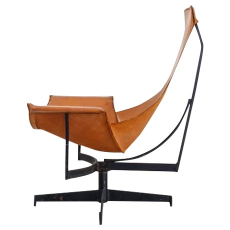 William Katavolos Swiveling Brown Leather Sling Chair, USA, 1950s - Image 1 of 10