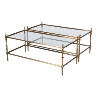 Pair of French Mid-Century Brass 2-Tiered Coffee Tables, 1950s