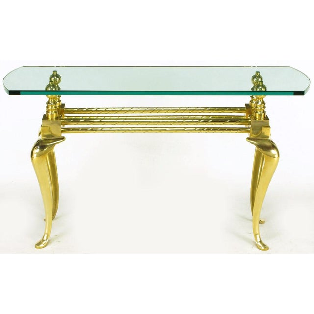Regency Cast & Polished Brass Cabriole Leg Console Table For Sale - Image 3 of 8