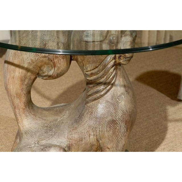 Brown Dramatic Pair of Hand-Carved Foo Dog Tables by Sarreid Ltd For Sale - Image 8 of 11