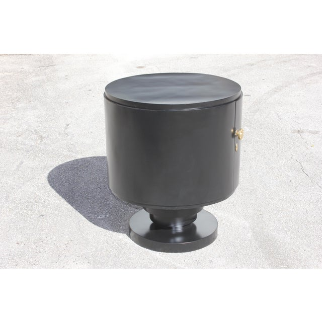 1940s French Art Deco Cylinder Ebonized Dry Bar For Sale - Image 10 of 13