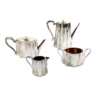 1854 Victorian Silver Plated Tea and Coffee Service Set - 4 Piece Set For Sale