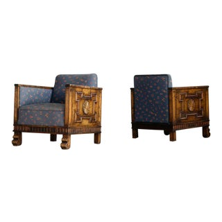 Axel Einar Hjorth Pair of Lounge or Club Chairs in Flamed Birch, Sweden, 1930s For Sale