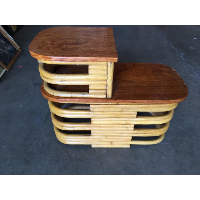 1930s Stacked Rattan Side Table With Cut Outs - a Pair For Sale - Image 5 of 9