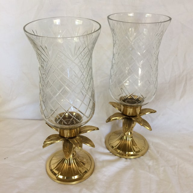 Vintage Etched Crystal & Brass Pineapple Design Candle Holders - a Pair - Image 2 of 11
