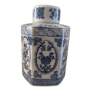 Chinese Blue and White Ceramic Hexagonal Ginger Jar For Sale