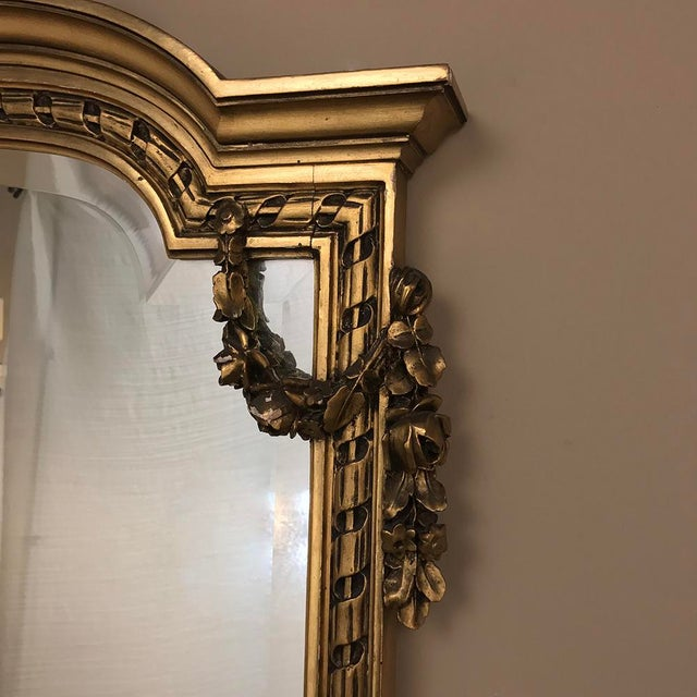 Gold 19th Century French Louis XVI Marble Top Giltwood Console With Mirror For Sale - Image 8 of 12