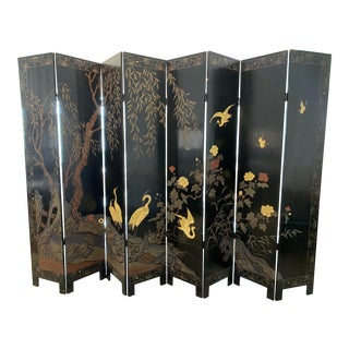 1930s Chinese Black Lacquered Coromandel Screen For Sale
