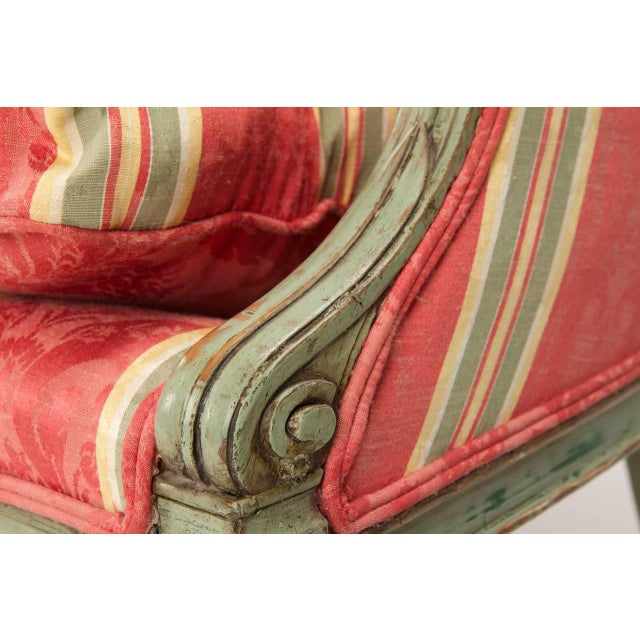 French Louis XVI Period Antique Green Painted Sofa Canapé Settee, 18th Century For Sale - Image 9 of 10