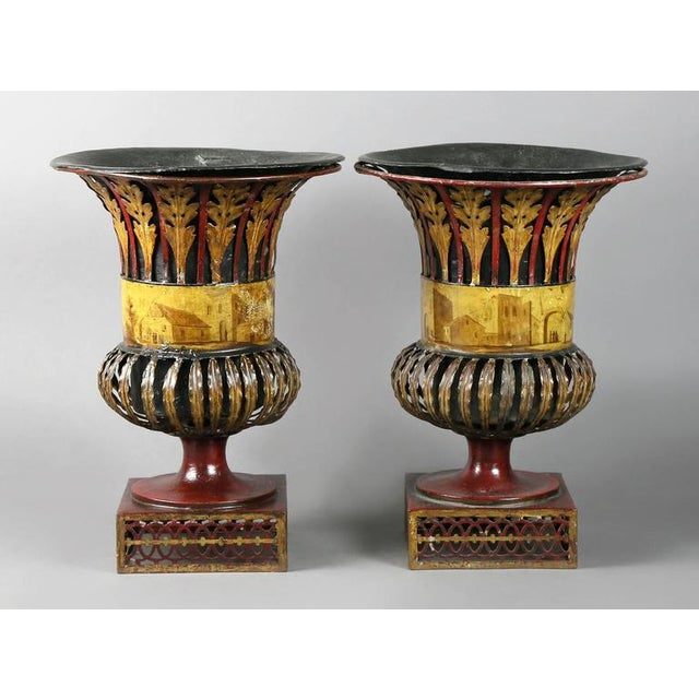 Pair of Regency Tole Urns For Sale - Image 11 of 11