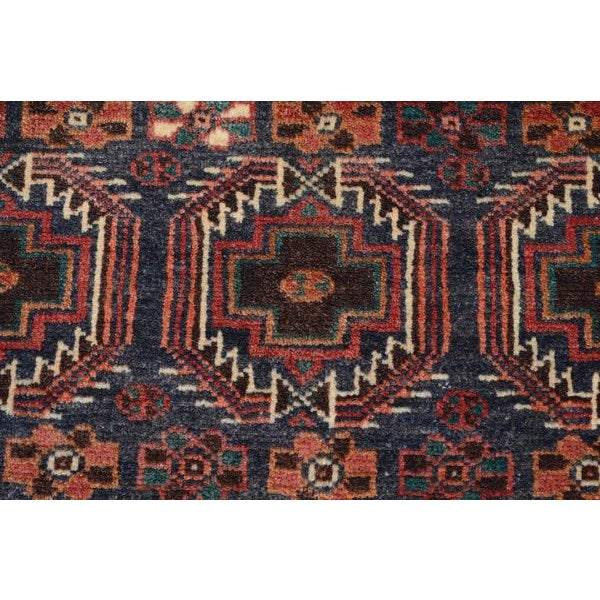 Blue Hand Knotted Persian Baluch Rug - 3′3″ × 6′10″ For Sale - Image 8 of 9