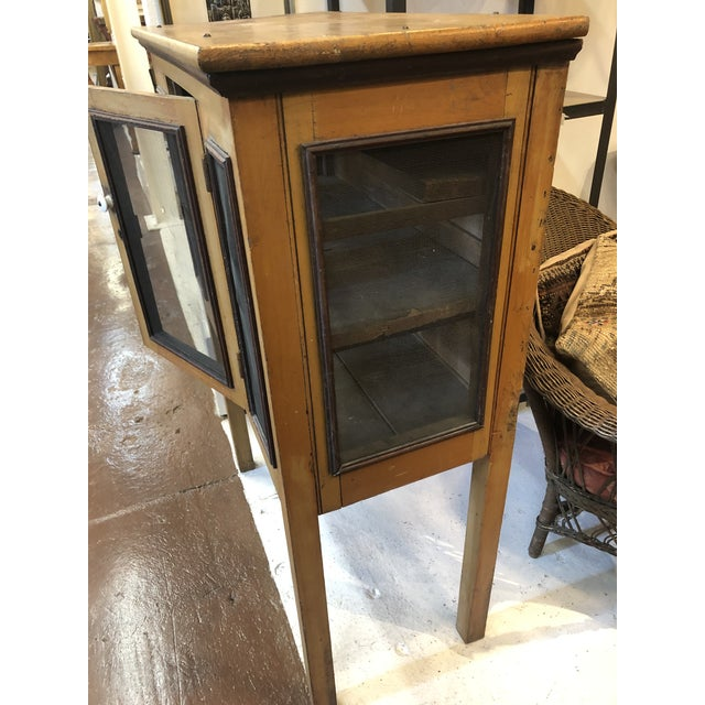 Metal Rare Primitive Pie Safe With Original Paint and Hardware Circa 1900 For Sale - Image 7 of 13