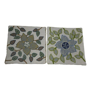Pure Cotton Vintage Floral Crewel Pillow Cases - a Pair For Sale