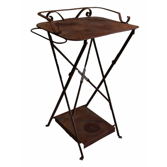 Anthropologie Weathered Outdoor Table/Plant Stand For Sale - Image 4 of 5