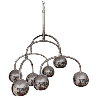 Robert Sonneman Seven-Light Chrome Tiered Chandelier