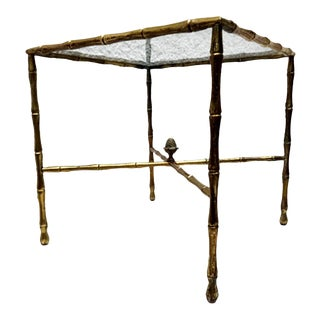 Faux Bamboo Brass Side Table by Arturo Pani Hollywood Regency 1950s For Sale