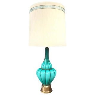 Marbro Turquoise Murano Glass & Brass Table Lamp For Sale
