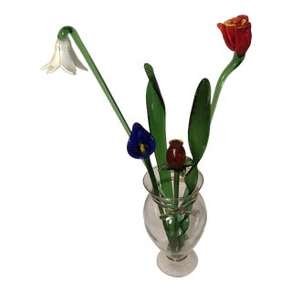 Modern Murano Art Glass Style Flowers - Set of 6 For Sale