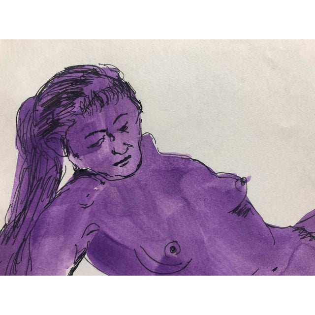 Figurative Reclining Purple Female Nude Gouache, 1950s For Sale - Image 3 of 5
