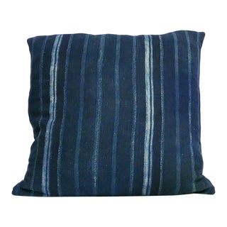 African Blue Striped Mudcloth Pillow For Sale