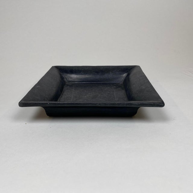 Modern Square Hand Carved Marble Plate For Sale - Image 3 of 5