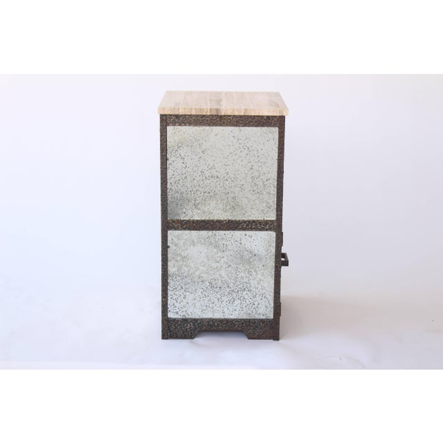 French 1930s hammered wrought iron end tables with antiqued mirror drawers and sides and travertine top.