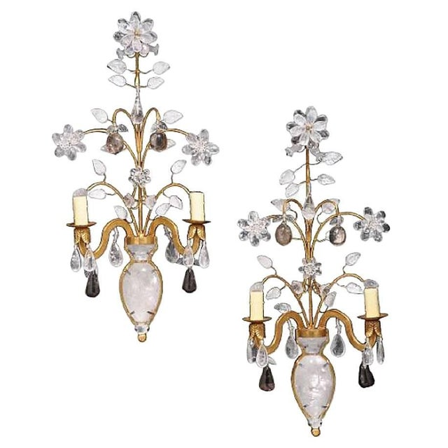 Rock Crystal and 23K Gold Leaf Two-Light Sconces - a Pair For Sale - Image 11 of 11