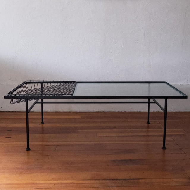 Mid Century Modern Iron Coffee Table With Magazine Holder For Sale - Image 13 of 13